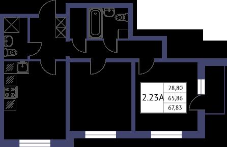 Планировка Двухкомнатная квартира площадью 67.83 кв.м в ЖК «Неоклассика»