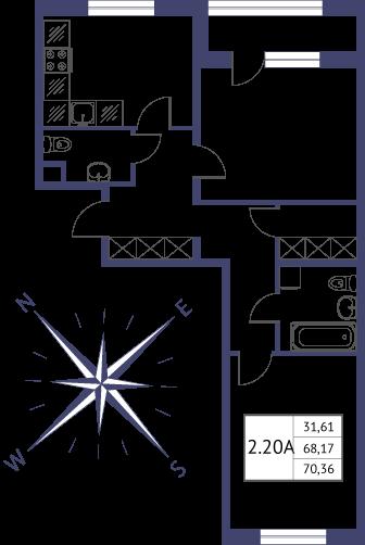 Планировка Двухкомнатная квартира площадью 70.36 кв.м в ЖК «Неоклассика»