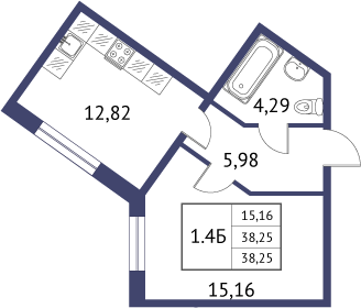 Планировка Однокомнатная квартира площадью 38.25 кв.м в ЖК «Неоклассика»