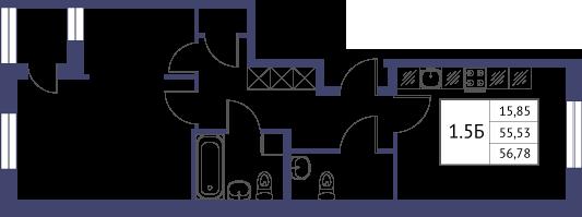 Планировка Однокомнатная квартира площадью 56.78 кв.м в ЖК «Неоклассика»