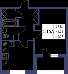 Планировка Однокомнатная квартира площадью 46.29 кв.м в ЖК «Неоклассика»