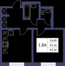 Планировка Однокомнатная квартира площадью 43.36 кв.м в ЖК «Неоклассика»